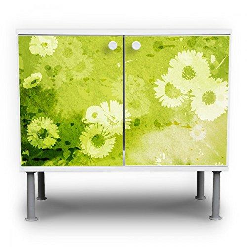 #banjado – Badunterschrank 60x55x35cm Design Waschbeckenunterschrank mit Motiv Kamille Grün#