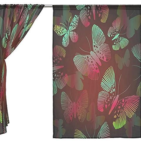 jstel 2Stück Tüll Voile Fenster Zimmer Dekoration Semi Sheer Vorhang, Bling Light Art Butterfly, Gaze Vorhänge Wohnzimmer Schlafzimmer Krawatte Top Vorhang 139,7x 198,1cm Zwei scheibenelementen Set, Polyester, blau, 55x78x2(in)