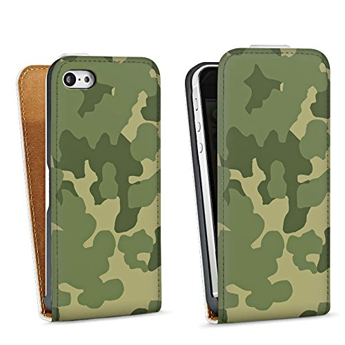 Apple iPhone 5 Housse Étui Silicone Coque Protection Motif Motif Vert Sac Downflip blanc