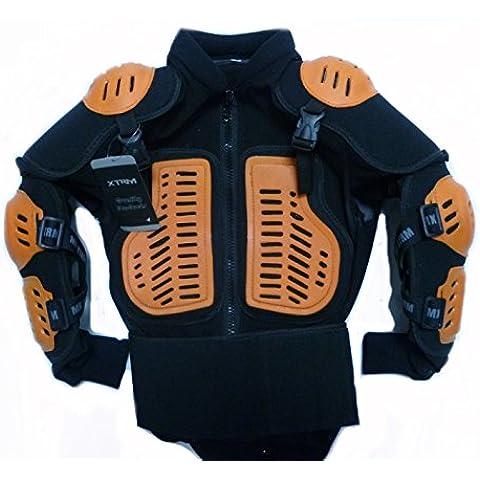 Giacca Bambini: XTRM Pettorina Moto corraza Bambino Quad Scooter Giacca da Corsa, Motociclo protezione Kids armatura Motocross, Arancione (L (10 anni))