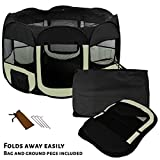 AVC Soft Fabric Foldable Indoor Outdoor Dog Cat Puppy Rabbit Playpen Run Cage (Small, Black)