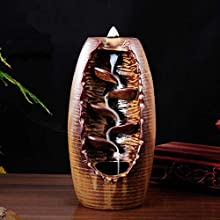 Backflow Incense Burner with 10pcs Backflow Incense Cone, Home Ceramic Backflow Incense Cone Holder Burner