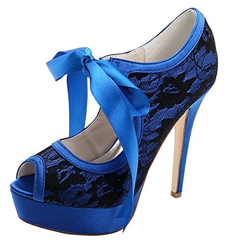 ZHENGXF Escarpin femme Sexy Chaussure marišŠe de mariage Mode Bleu