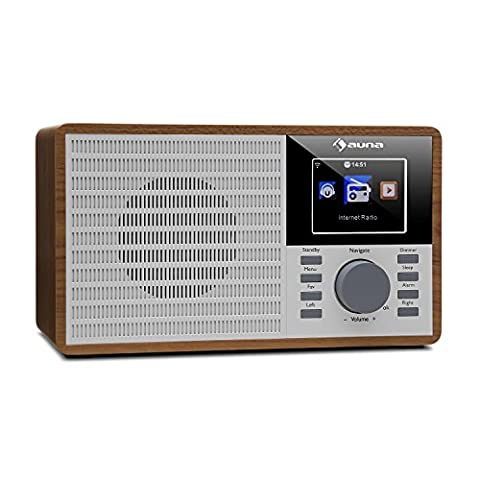 auna IR-160 Radio internet • Des milliers de stations radio Internet via le réseau WiFi • Lecteur média : port USB, entrée AUX et diffusion par le réseau via le standard UPnP ou DLNA • Ecran TFT couleur 2.8
