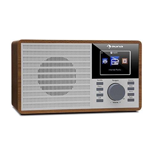 "auna IR-160 - Internetradio, Radiowecker, Digitalradio, WLAN, MP3/WMA-fähiger USB-Port, AUX, Wecker, Musikstreaming via UPnP, 2.8\"" TFT-Farbdisplay, Fernbedienung, App-Steuerung, braun"