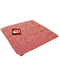 SewForever Manta Picnic, Picnic Blanket Outdoor Camping Rug Beach Mat Travel Playmat, Red Stripe, 120 x 120cm