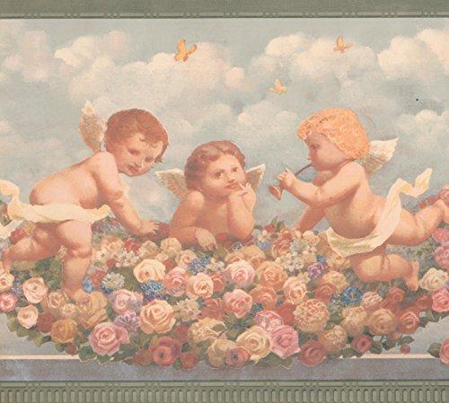 Cherub Babys in Heaven Rosa Rot Gelb Rosen Faith Religiöse Tapete Bordüre Retro Design, Rolle 15'x 22,9cm -