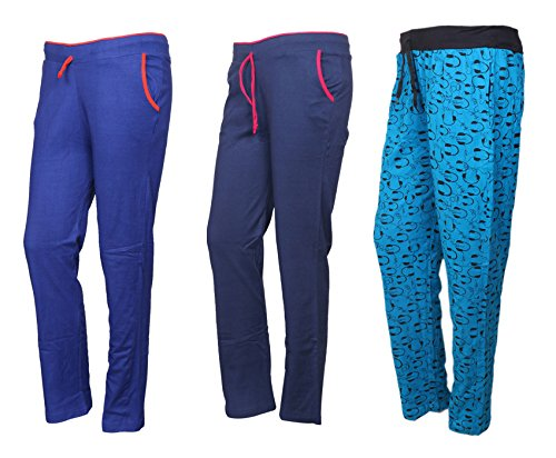 IndiWeaves Cotton Lower/Track Pants/Pyjama for Women(Pack of 3)_Royal Blue/Navy Blue/Firozi_Size-X-Large_73200-192124-IW-P3-XL