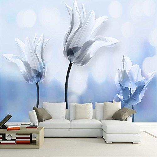 Mbwlkj Blaue Und Weiße Tapete 3D Hd Blume Wandschmuck Wand Kunst Discount Tapete Gemälde Für Die Wohnzimmer Tv Möbel-450Cmx300Cm -