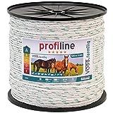 Corda per recinzioni elettriche, lunghezza 500 m e larghezza ca.6 mm, con fili in accaio inox 3 x 0,3 e fili in rame 3 x 0,30 colore bianco/verde