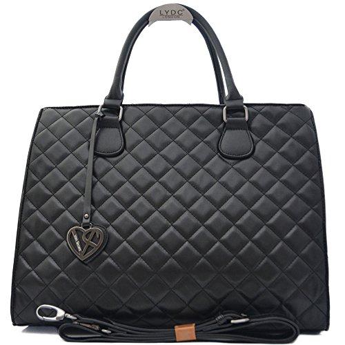 Vain Secrets Damen Handtasche mit Schulterriemen gesteppt oder in Saffiano Prägung (Schwarz Raute Steppung)