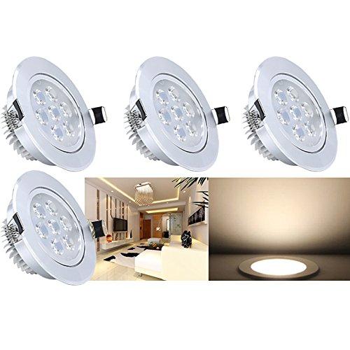 Hengda® 7W LED Einbauleuchten mit Trafo Kabel Einbauspots Stimmungsbeleuchtung Warmweiß Nicht Dimmbar für den Wohnbereich, 4er Set