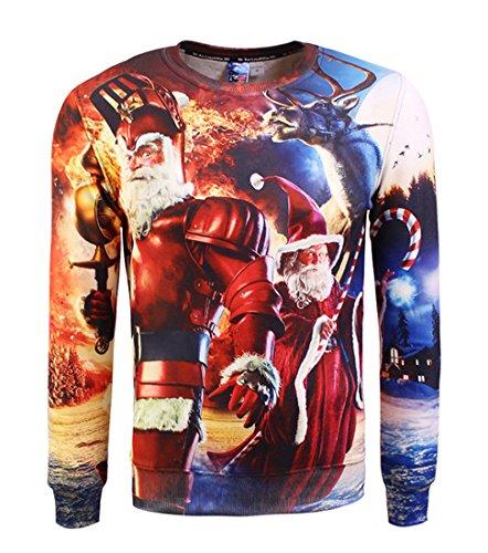 Honeystore Unisex Weihnachtsshirt Christmas 3D Druck Sweatshirt Sporadic Langarm Rundhals Pullover Drucken Weihnachten T-Shirts mit 3D Druckmuster Weihnachtsmann-04 XL