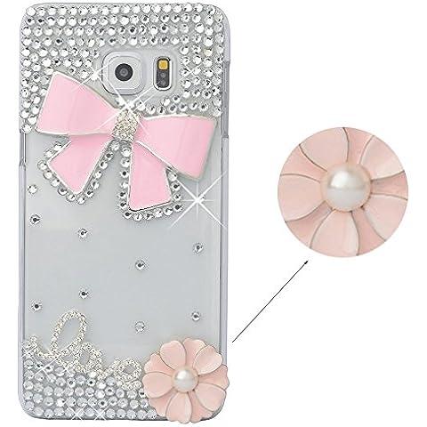 Spritech (TM) Crystal Bowknot elegante diseño de flores Decor de funda de Bling Rhinestone transparente Carcasa rígida, Color-8, Samsung Galaxy Note 5
