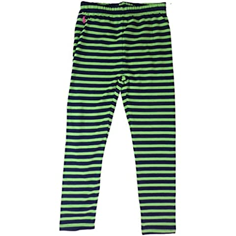 Ralph Lauren pantaloni Leggings da ragazza bambino verde blu scuro a strisce Polo Reiter Logo 116