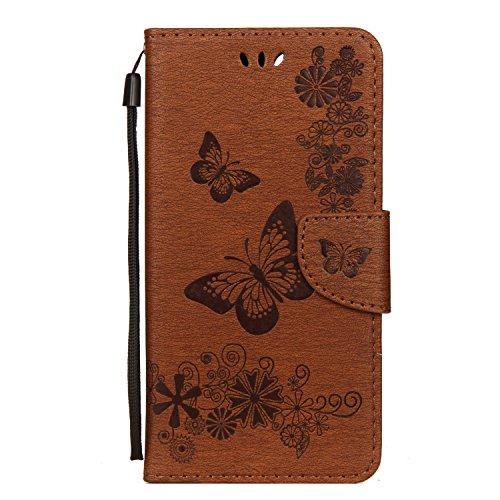 Funluna Huawei Honor View 10 Hülle, Blumen&Schmetterling Muster Folio PU Leder Flip Case Brieftasche Stand Funktion/Kartenfächer Handy Schutzhülle für Huawei Honor View 10, Braun