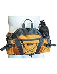 Elementerre ADVENT - Mochila para cintura con múltiples bolsillos y espacio para el bidón, color gris/naranja, talla única