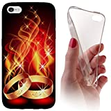 Huawei Honor 7 Softcase Hülle Backkover Softcase TPU Hülle Slim Case für Huwaei Honor 7 (1087 Ring Ringe Feuer Ehe Hochzeit Rot Gold)