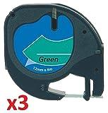3 x Schriftband kompatibel für Dymo LetraTag 91204 / S0721640 (12mm x 4m) schwarz auf grün, Kunststoff