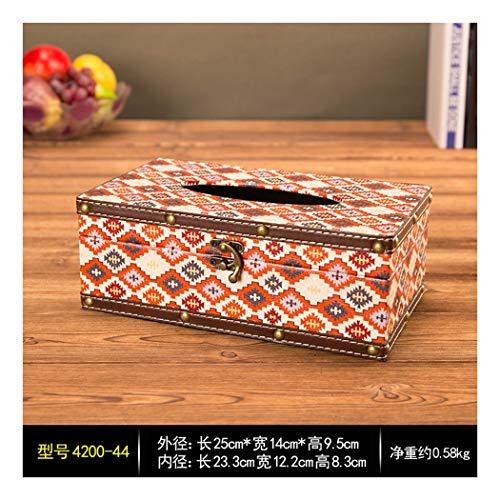 SHUCHANGLE Tissue Box Halter Vintage Holz Pu Leder Plaid Muster Seidenpapier Halter Kreative Wohnzimmer Auto Hotel Papier Aufbewahrungsbox -