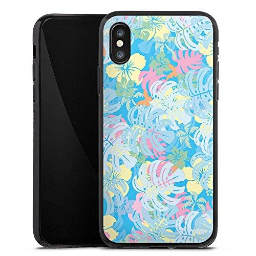 Apple iPhone X Silikon Hülle Case Schutzhülle Sommer dschungel pastell Silikon Case schwarz