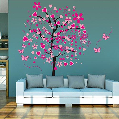 ufengke Pink Love Tree Schöne Schmetterling Blumen Wandsticker, Wohnzimmer Schlafzimmer Entfernbare Wandtattoos Wandbilder, Satz Von 4...