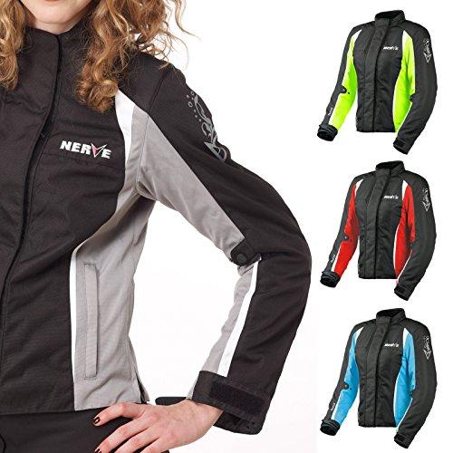 Motorradjacke -Unique-Motorrad Damen Wasserdicht Jacke mit Protektoren Sommer Winter Textil Frauen - schwarz-silber - 38