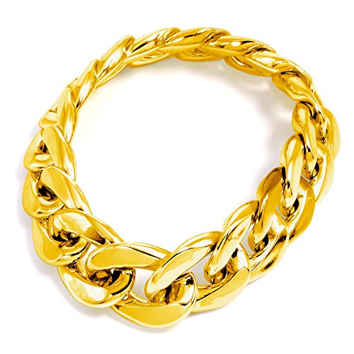 German Trendseller® - 1 x Rapper Armband - Fett Gold ┃ 24 cm ┃ Extra Fett ┃ Rapper ┃ Gangster ┃ Bling Bling ┃ Extra Dickes Material ┃ 1 Stück