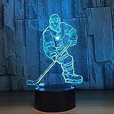 GZXCPC Eishockey 3D Optical Illusion LED Nachtlicht, Hi-azul 7-Farben ändern Touch Tisch Schreibtisch Lampe Deko Lampe mit Acryl Platte & ABS Base & USB Ladegerät für Geschenke
