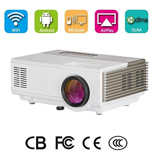 Wireless LED Pico proyector de vídeo, portátil Mini multimedia video proyector WiFi...