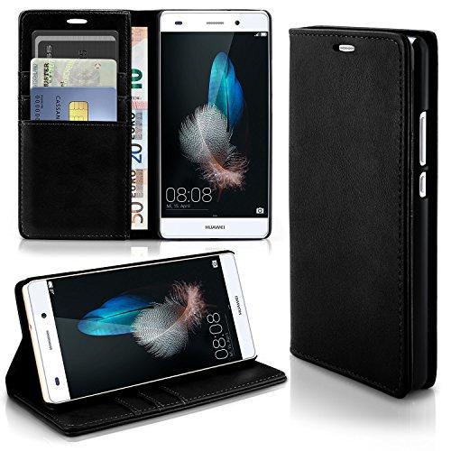 Caso casual per il Huawei P8 Lite | caso conveniente con slot per schede e la funzione del basamento | Sacchetto di protezione di custodia OneFlow | Copertura di vibrazione in Onyx