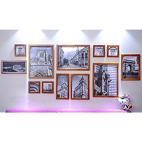 GYN Continentale minimalista a mano tinta legno Wall Decor foto cornice foto Set telaio foto telaio 12 scatole , walnut color