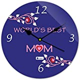 Gift For Mom Mothers Day Gift For Mother Indibni World's Best Mom Lovely Round Wall Clock 11 - Blue - House Warming Gift For Mom Mother In Law Mother To Be On Her Birthday Anniversary Mothers Day Everyday Home Decor