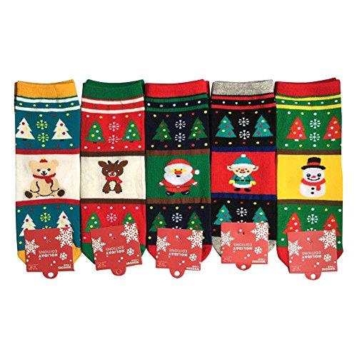| Weihnachtssocken ❤️ | Strümpfe Winter Socken | bunte lustige süße verrückte Söckchen | X-mas Christmas tolle Geschenkidee | Größe 36-42 | Einheitsgröße | 5 Paar | Damen/Herren | Verrückte Knie-socken Für Mädchen