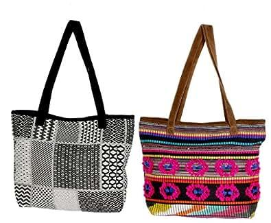 Indistar Womens Handmade Ethnic Self Design Jacquard Hand Bag (Pack of 2)