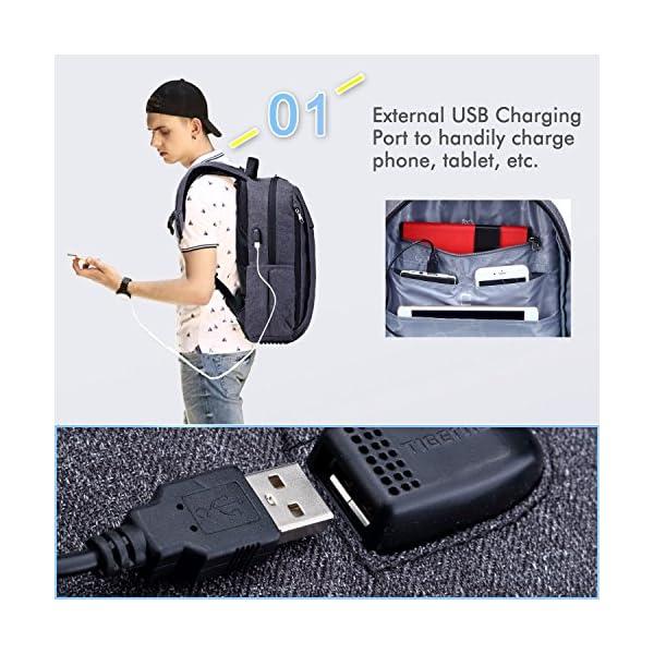 51HmXp7EsUL. SS600  - Fubevod Mochila de Ordenador portátil de negocios con cargador USB impermeable Bolsa de colegio negro