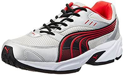 Puma Men's Pluto DP White-Black-High Risk Red Running Shoes - 8 UK/India (42 EU)