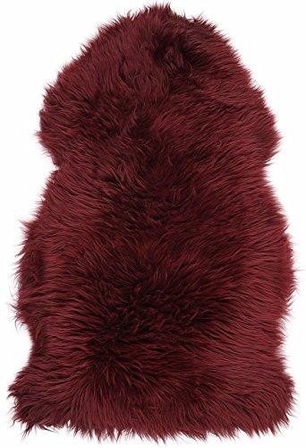 Super weiche große echtes Schaffell Teppich in Burgund von Lambland-Größe 100cm x 70cm, burgunderfarben, 100cm x 70cm - Weichen Schaffell