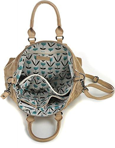 PHIL + SOPHIE, Cntmp, sacs dames de main, poignée, sacs à la mode, sacs de bowling, sacs à bandoulière, .Velours, de suède, sac en cuir, de paille, cuir tressé / gaufrage, 36x25x14cm (L x H x P) - Beige Natur (Flecht)