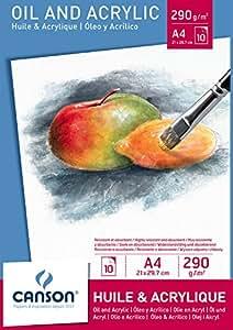 Canson Bloc Huile/Acrylique 200005785 Papier à dessin Blanc