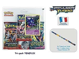 Offre Lagiwa - Carte Pokemon Tripack XY TENEFIX comprend 2 boosters Impulsion Turbo et 1 booster Origines Antiques avec 1 cadeau bonus pokemon offert