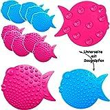 alles-meine GmbH 6 TLG. Set _ 3-D Effekt Figuren - Saugnapf / Wandsticker mit Noppen -  lustige Fische - bunter Farbmix  - Stopper Pad - Sauger & Anti Rutsch Pads - für Flie..