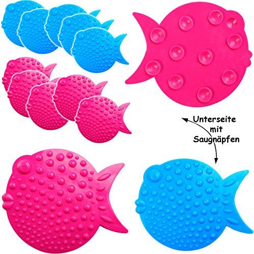 alles-meine.de GmbH 6 TLG. Set - Badewanneneinlage / Sticker mit Noppen -  lustige Fische - bunter Farbmix  - Stopper Pad - Anti Rutsch Pads - Silikon - Einlagen z.B. für Dusch..