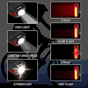 luz Bicicleta, Luces para Bicicleta LED ITSHINY Recargable e Impermeable - Combinaciones de Faros Delanteros y Luces Traseras Super brillantes Fáciles Instalar para Ciclismo Carretera Montaña