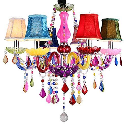 WJIE 6 Licht Kristall Kronleuchter Klassische Retro-Beleuchtung Kronleuchter Deckenleuchte mit RGB-Lampenschirm Schlafzimmer Wohnzimmer -