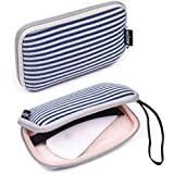 Case Star ® Bohemian Style Canvas Fabric Smart Classic Stripe Pattern Travel Carrying Case Bag for Mac Magic Mouse, Anker 36W 4-Port USB Wall Charger Travel Adapter, Apple 45W MagSafe Power Adapter