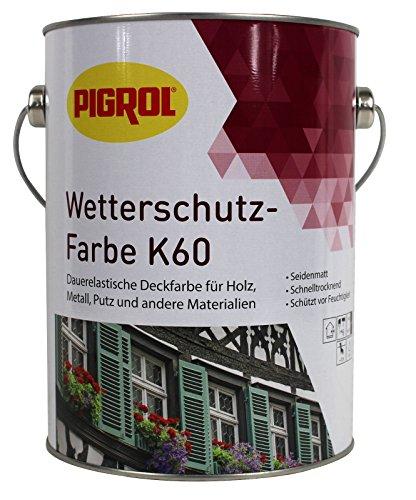 Pigrol Wetterschutzfarbe K60 - 2,5L - silbergrau Holzfarbe Deckfarbe