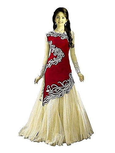 Market Magic World Kid\'s Girl Velvet Semi-Stitched Western Salwar suit Dresses (Free Size_8-12 Year_Red_213)