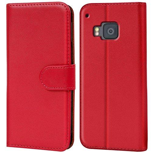 Verco One M9 Hülle, Handyhülle für HTC One M9 Tasche PU Leder Flip Case Brieftasche - Rot