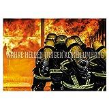 FIRE & FIGHT Streetwear Feuerwehr Poster WAHRE Helden Wandbild Querformat 100 x 70 cm